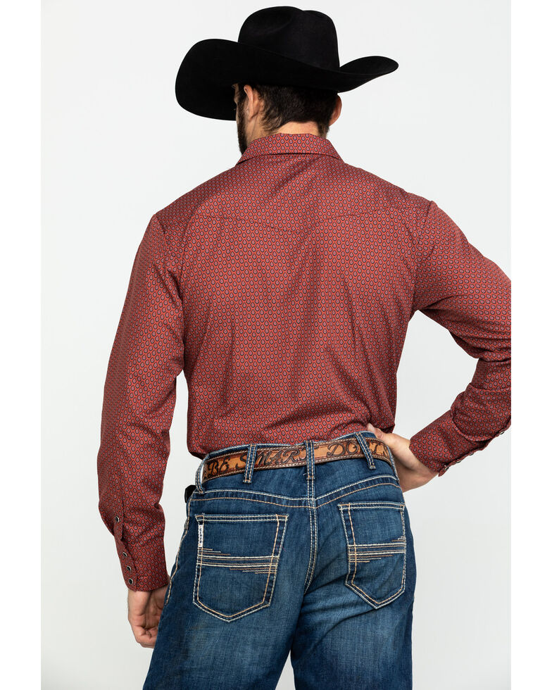 Roper Men's Classic Rust Tear Drop Mini Print Long Sleeve Western Shirt , Rust Copper, hi-res