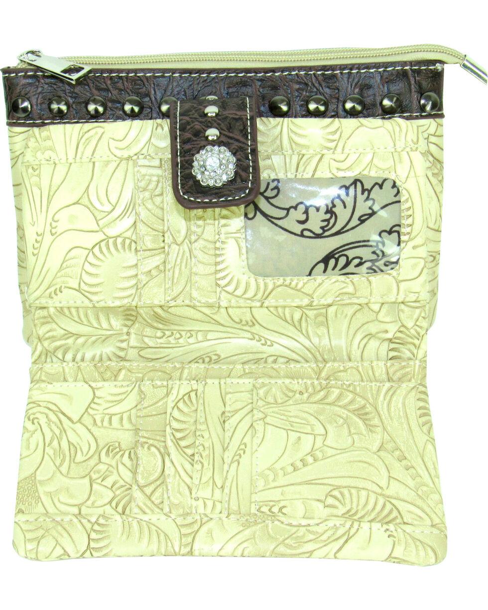 Savana Women's Ivory Tooled Crossbody/Wristlet with Hair Inlay, Ivory, hi-res