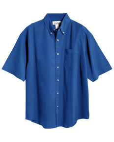 Tri-Mountain Men's Royal Blue Solid Recruit Short Sleeve Work Shirt , Royal Blue, hi-res
