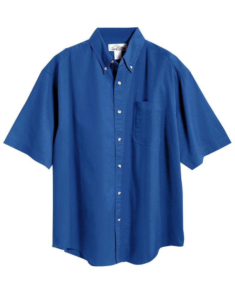 Tri-Mountain Men's Royal Blue Solid Recruit Short Sleeve Work Shirt , Royal Blue, hi-res