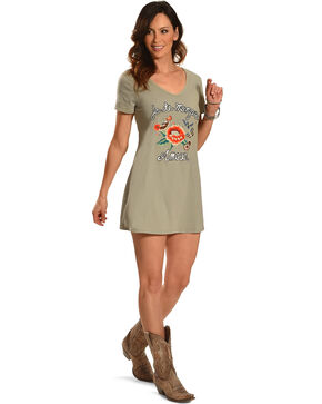 Miss Me Women's Sage Embroidered T-Shirt Dress , Sage, hi-res
