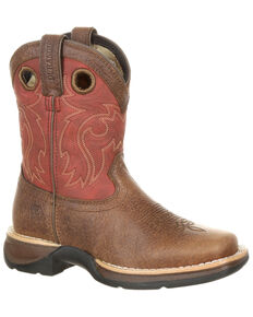 Durango Youth Boys' Rebel Waterproof Western Saddle Boots - Square Toe, Brown, hi-res