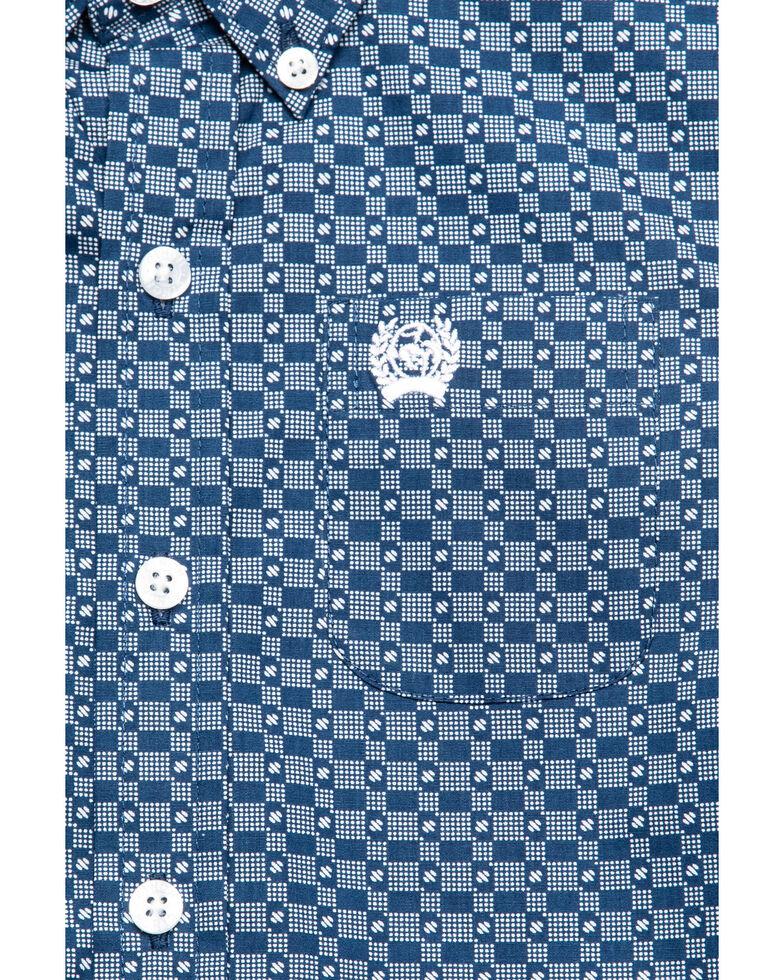 Cinch Toddler Boys' Blue Geo Print Long Sleeve Western Shirt , Blue, hi-res