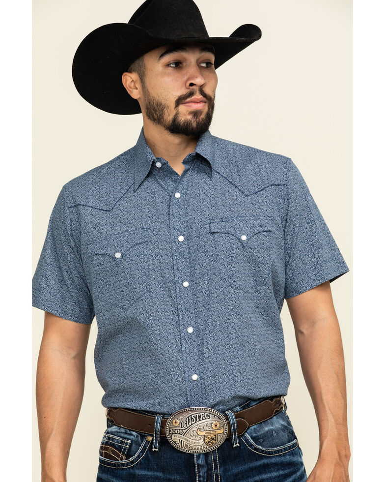 Roper Men's Blue Textured Aztec Geo Print Short Sleeve Western Shirt , Navy, hi-res