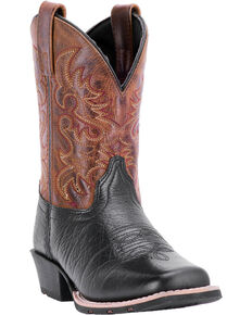 Dan Post Boys' Little River Western Boots - Square Toe, Black, hi-res