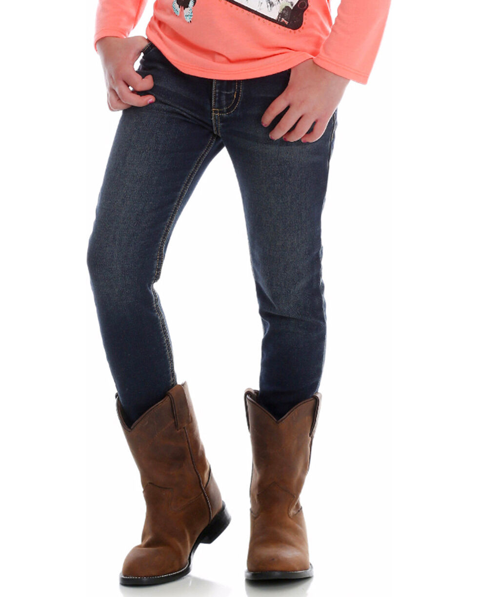 Wrangler Girls' Premium Patch Skinny Jeans, Blue, hi-res