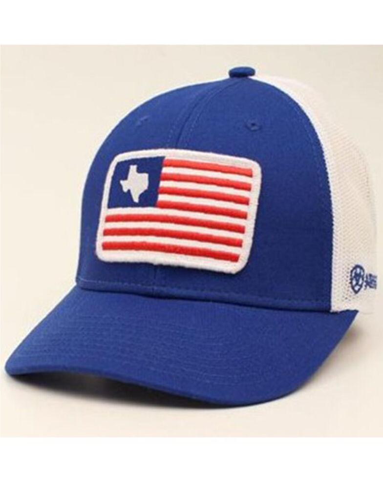 Ariat Men's Texas USA Flag Patch Mesh Ball Cap , Blue, hi-res