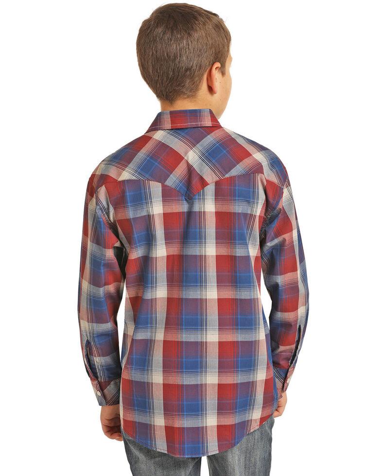 Rock & Roll Cowboy Boys' Red Yarn Dye Plaid Long Sleeve Western Shirt , Red, hi-res