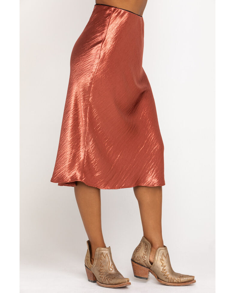Nikki Erin Women's Satin Midi Solid Skirt, Rust Copper, hi-res