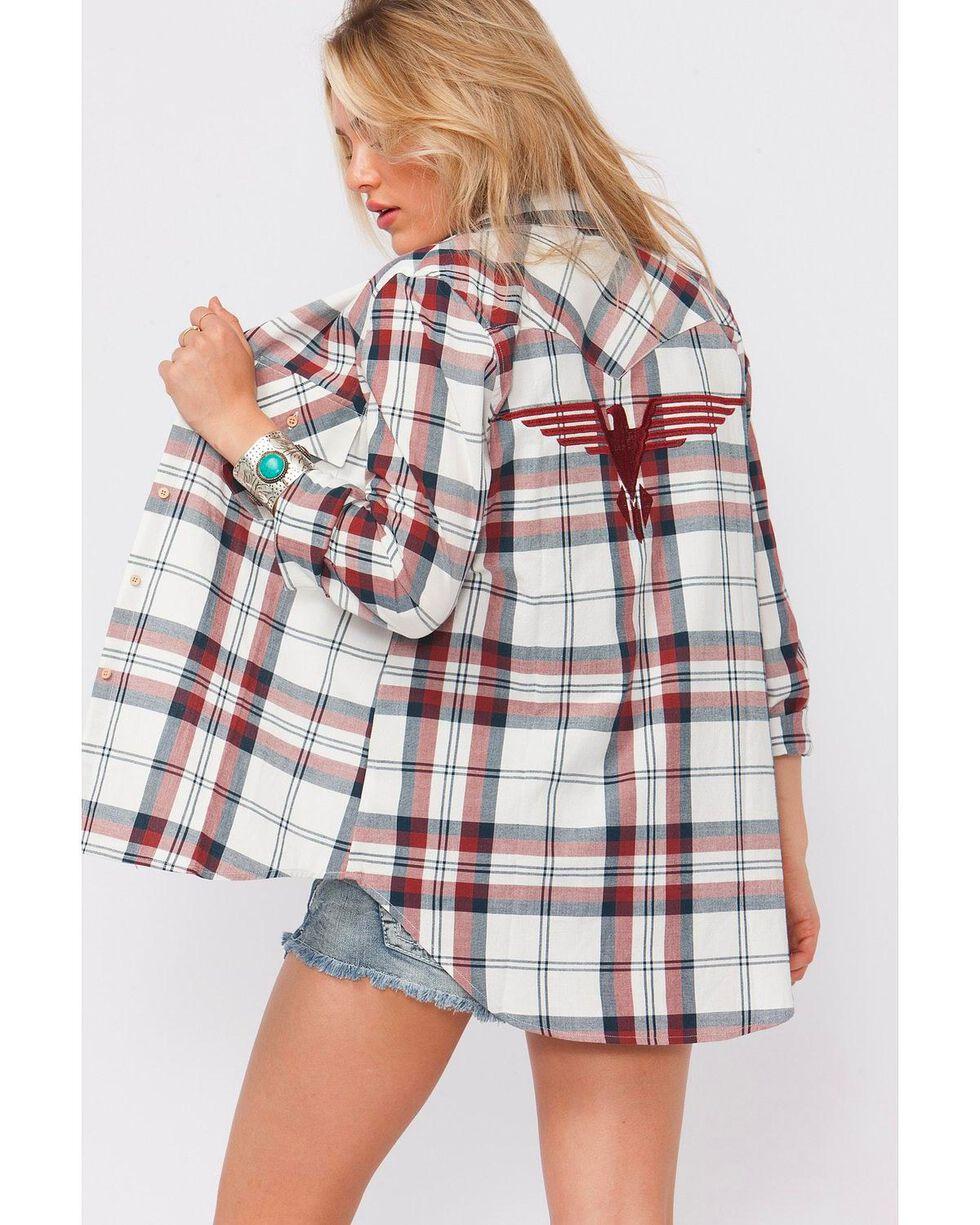 Shyanne Women's Plaid Eagle Applique Long Sleeve Shirt, Multi, hi-res