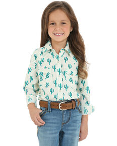 Wrangler Girls' White Cactus Long Sleeve Western Shirt, White, hi-res