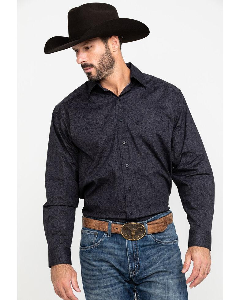 Tuf Cooper Men's Charcoal Stretch Paisley Print Long Sleeve Western Shirt , Charcoal, hi-res
