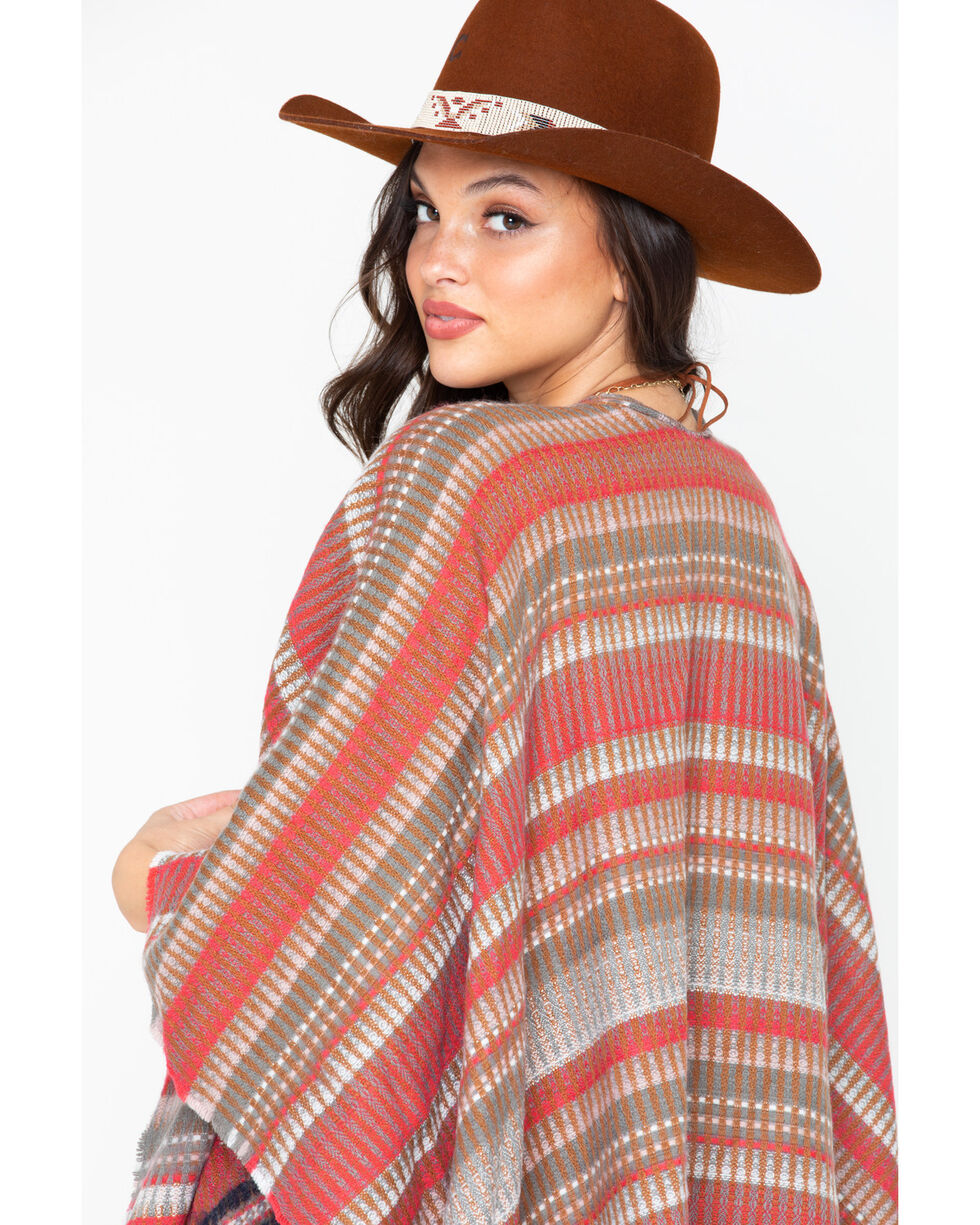 Shyanne Women's Red Striped Poncho, Multi, hi-res