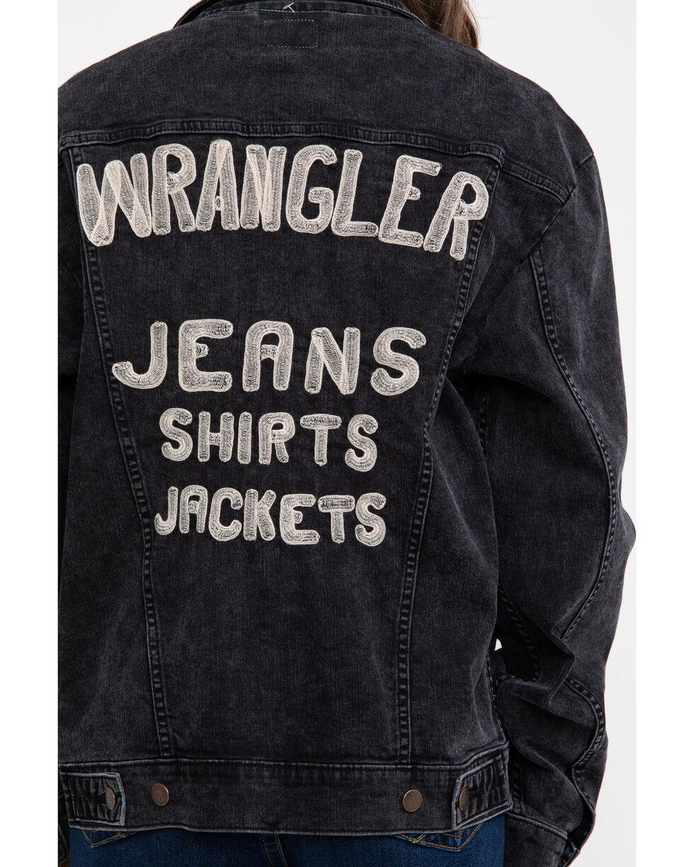 Wrangler Women's Modern Embroidered Back Denim Jacket , Black, hi-res