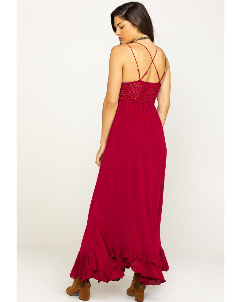 Free People Women's Adella Maxi Slip Dress, Dark Pink, hi-res