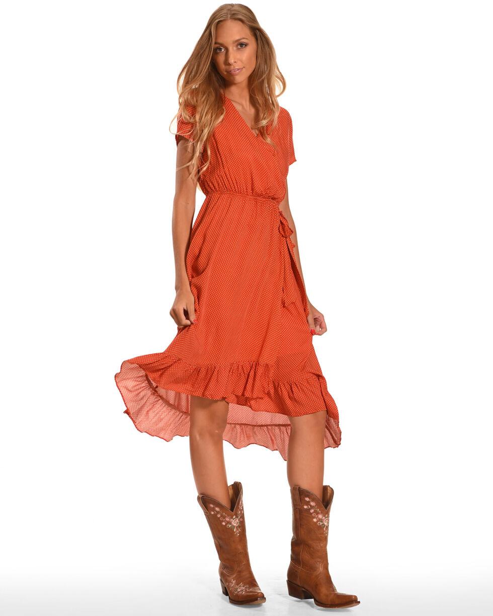 Polagram Women's Polka Dot Dress, Orange, hi-res