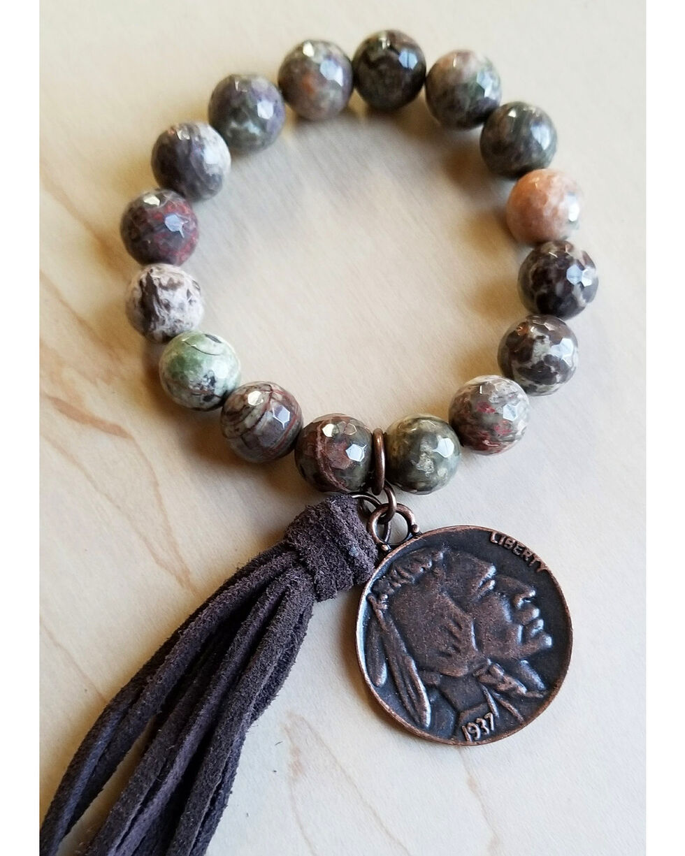 Jewelry Junkie Faceted Brown Ocean Agate Bracelet with Tassel and Indian Head Coin, Brown, hi-res