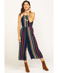 Wrangler Women's Halter Stripe Jumpsuit , Navy, hi-res