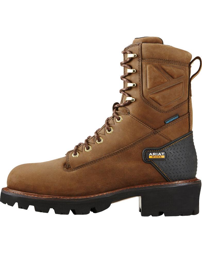 Ariat Men's Brown Powerline H2O Work Boots - Soft Toe, Brown, hi-res
