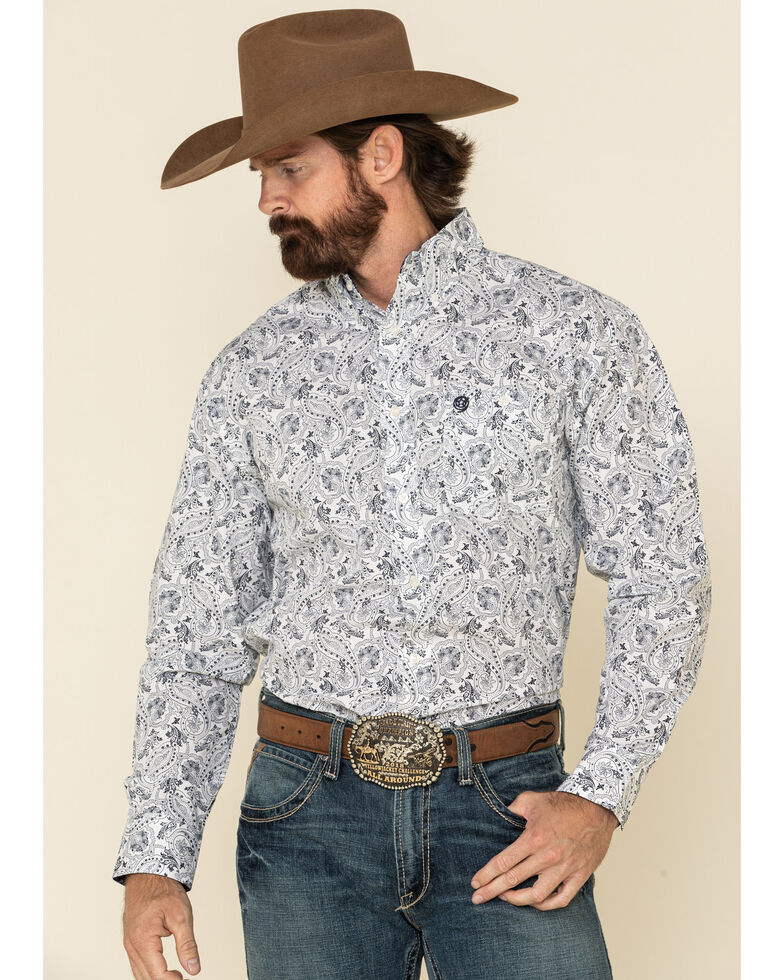 George Strait By Wrangler Men's White Paisley Print Long Sleeve Western Shirt - Tall , White, hi-res