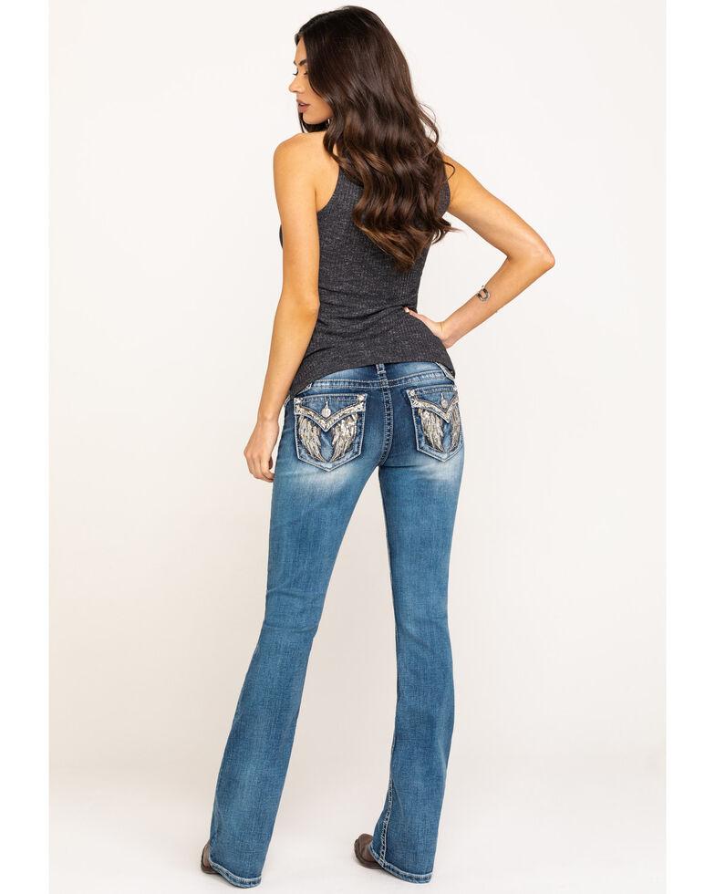 Miss Me Women's Light Angel Wing Bootcut Jeans, Blue, hi-res