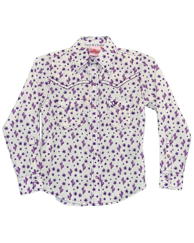 Cowgirl Hardware Girls' Cactus Print Long Sleeve Western Shirt , Purple, hi-res