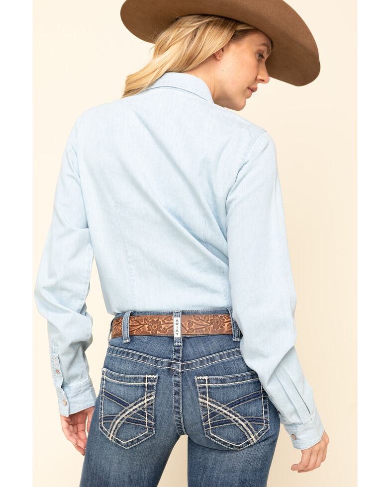Cruel Girls Women's Chambray Floral Embroidered Long Sleeve Western Shirt, Blue, hi-res