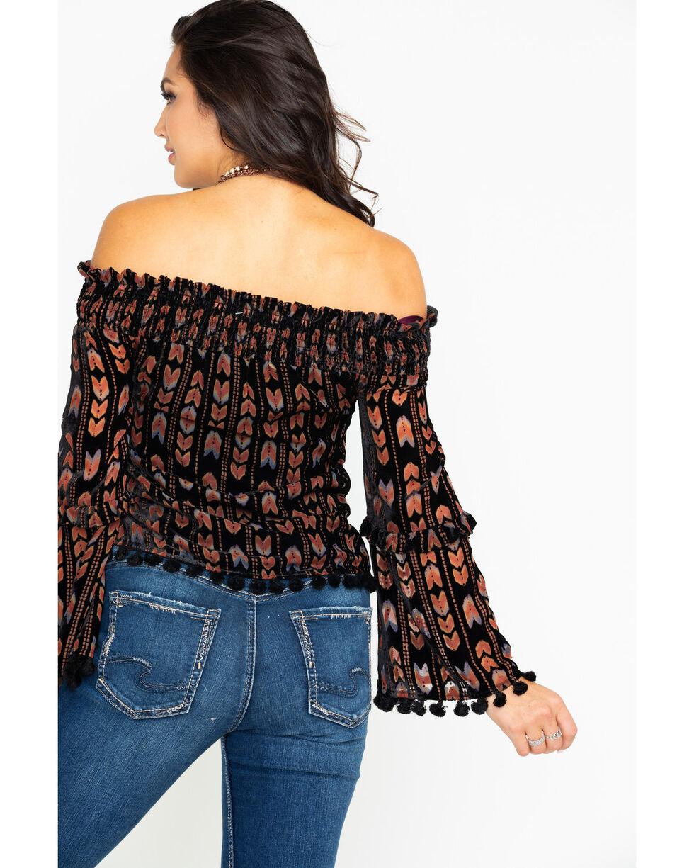 Miss Me Women's Off Shoulder Boho Stripe Velvet Top , Black, hi-res