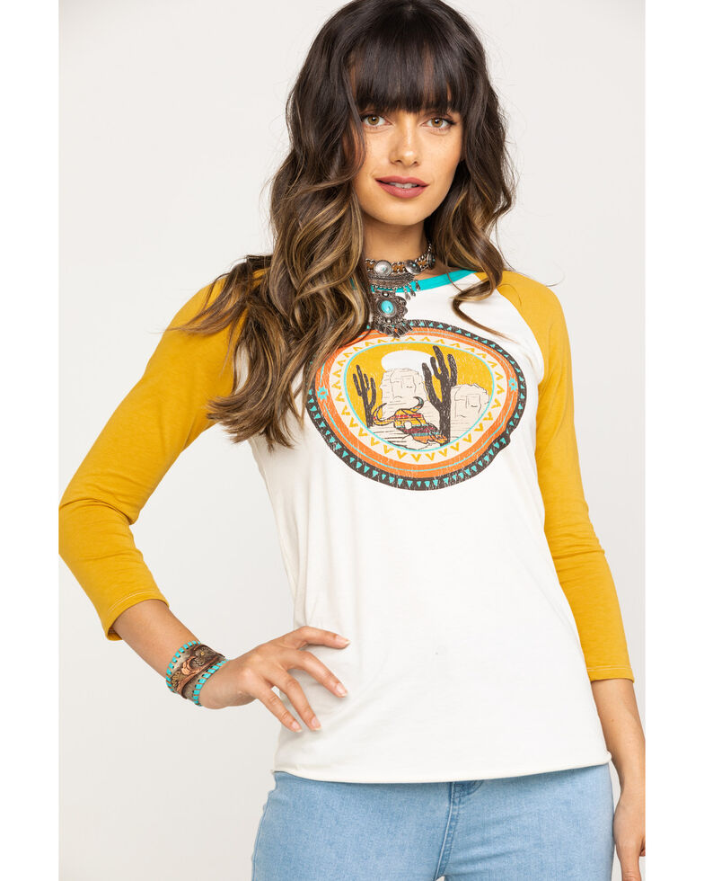 Rock & Roll Denim Women's Cactus Graphic Raglan Tee, Natural, hi-res