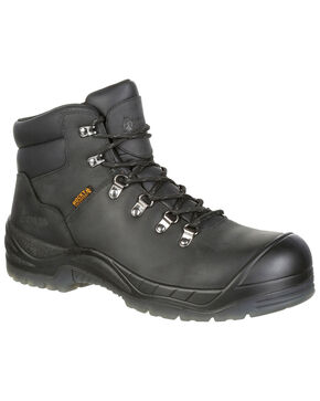 "Rocky Men's Worksmart Waterproof 5"" Work Boots - Safety Toe, Black, hi-res"