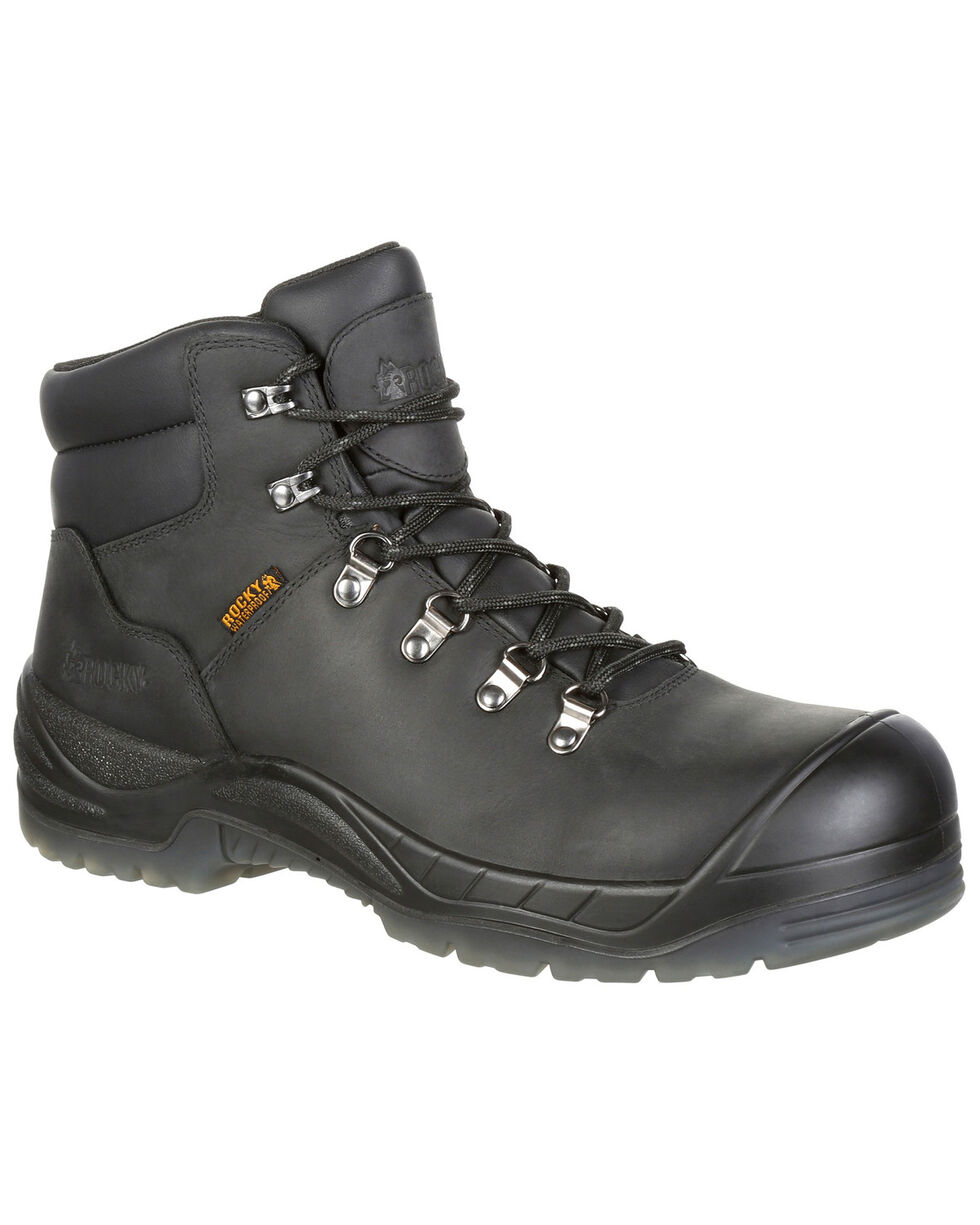 "Rocky Men's Worksmart Waterproof 5"" Work Boots - Safety Toe, Black, hi-res"