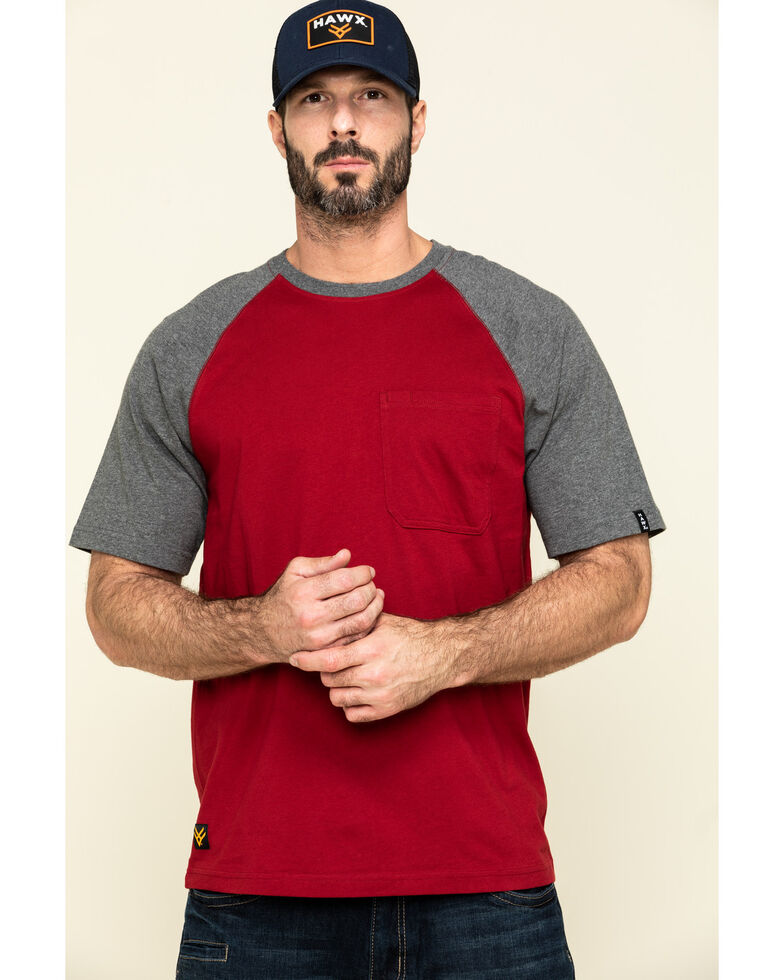 Hawx Men's Red Midland Short Sleeve Baseball Work T-Shirt - Big , Red, hi-res