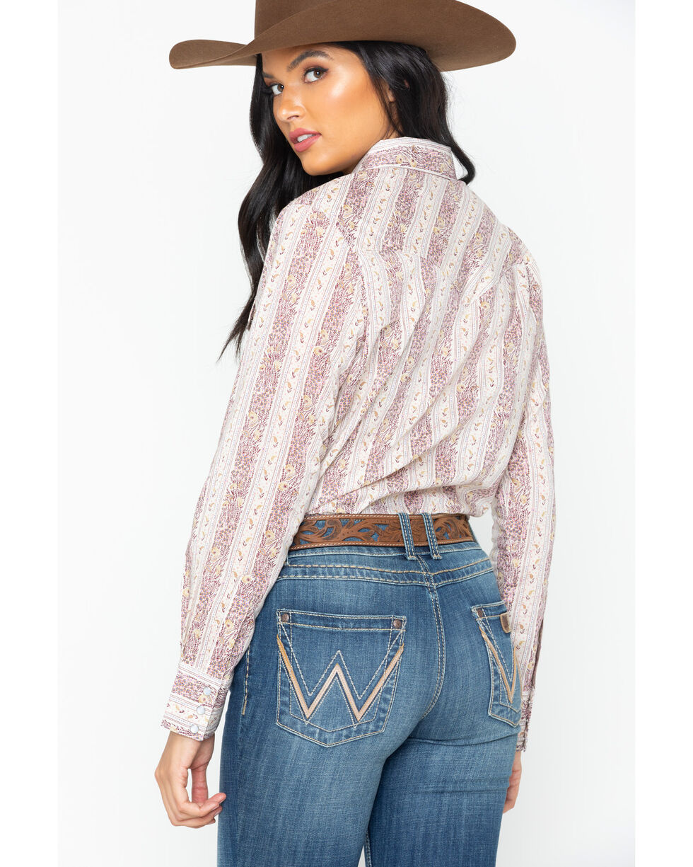 Wrangler Women's Floral Stripe Long Sleeve Western Top, Lavender, hi-res
