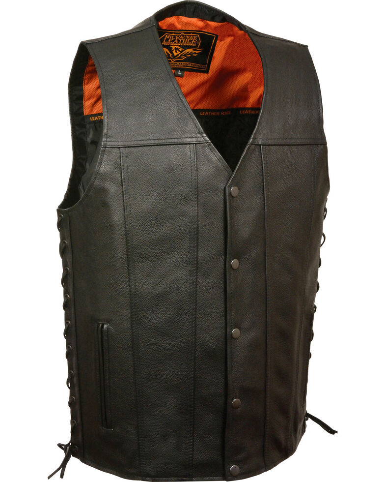 Milwaukee Leather Men's Straight Bottom Side Lace Vest - 3X, Black, hi-res