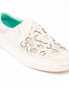 Corral Women's Embroidered Glitter Inlay Sneakers, White, hi-res