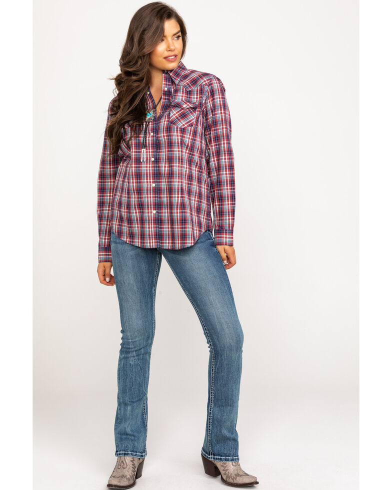 Wrangler Women's Plaid Red Snap Western Long Sleeve Shirt, Red, hi-res