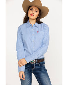 31c919022 Ariat Women's Kirby Classic Blue Stripe Stretch Long Sleeve Shirt