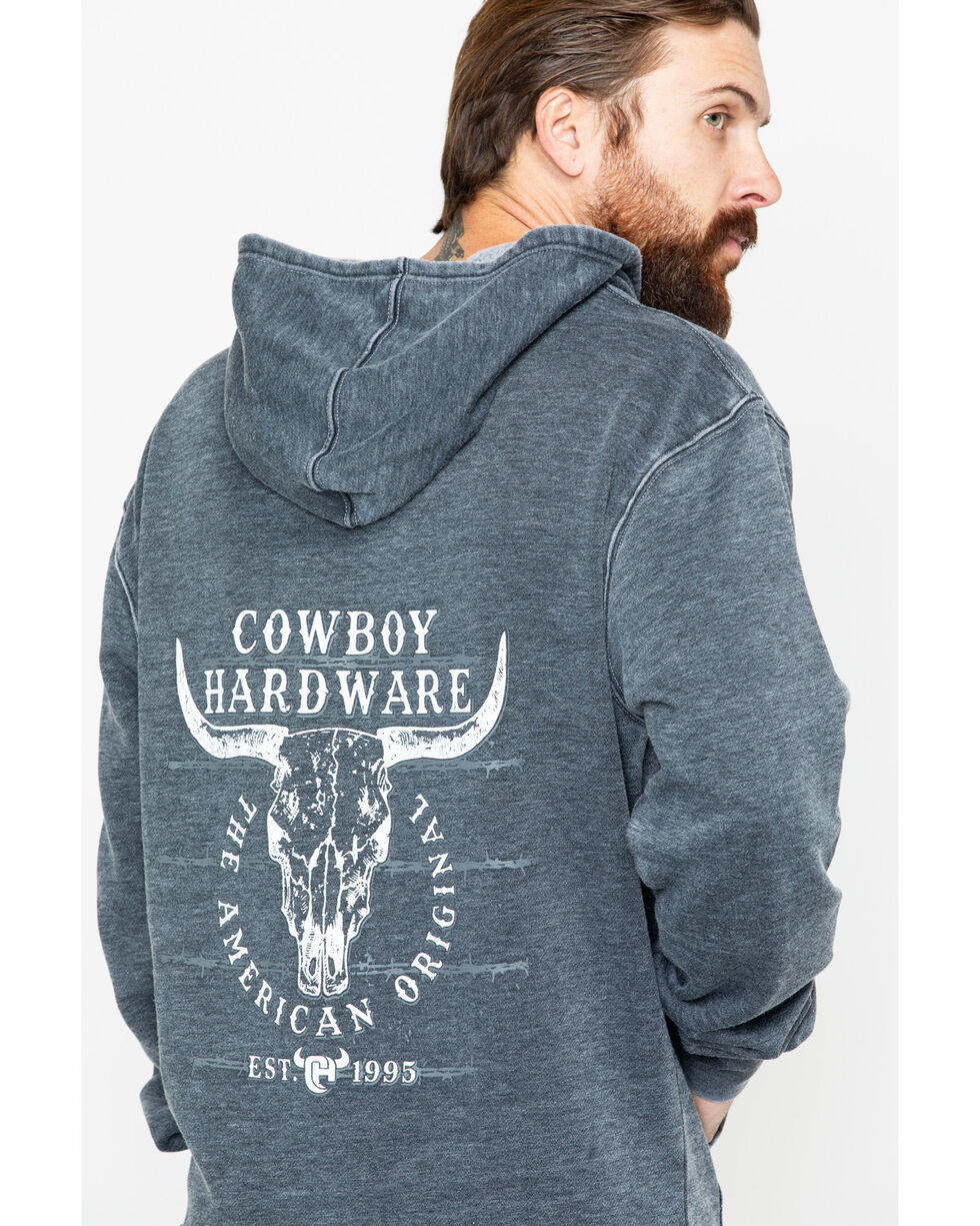 Cowboy Hardware Men's Solid American Original Graphic Acid Wash Pullover , Black, hi-res