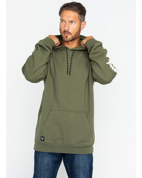Hawx Men's Logo Sleeve Work Hoodie , Dark Green, hi-res