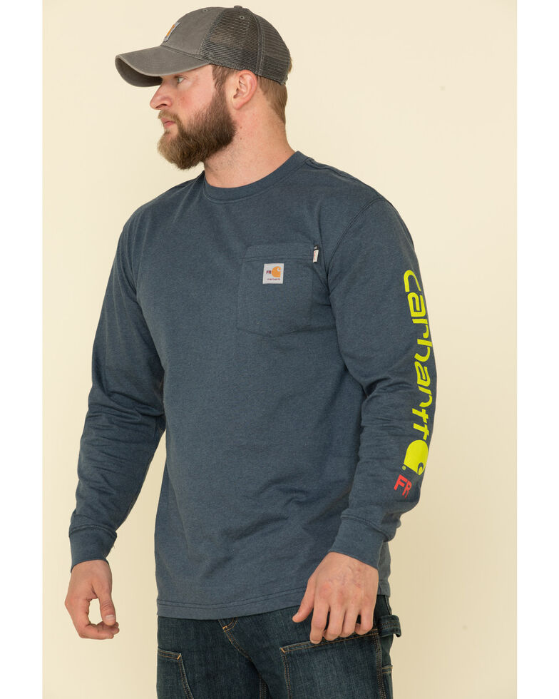 Carhartt Men's Dark Blue M-FR Midweight Signature Logo Long Sleeve Work Shirt - Big , Dark Blue, hi-res