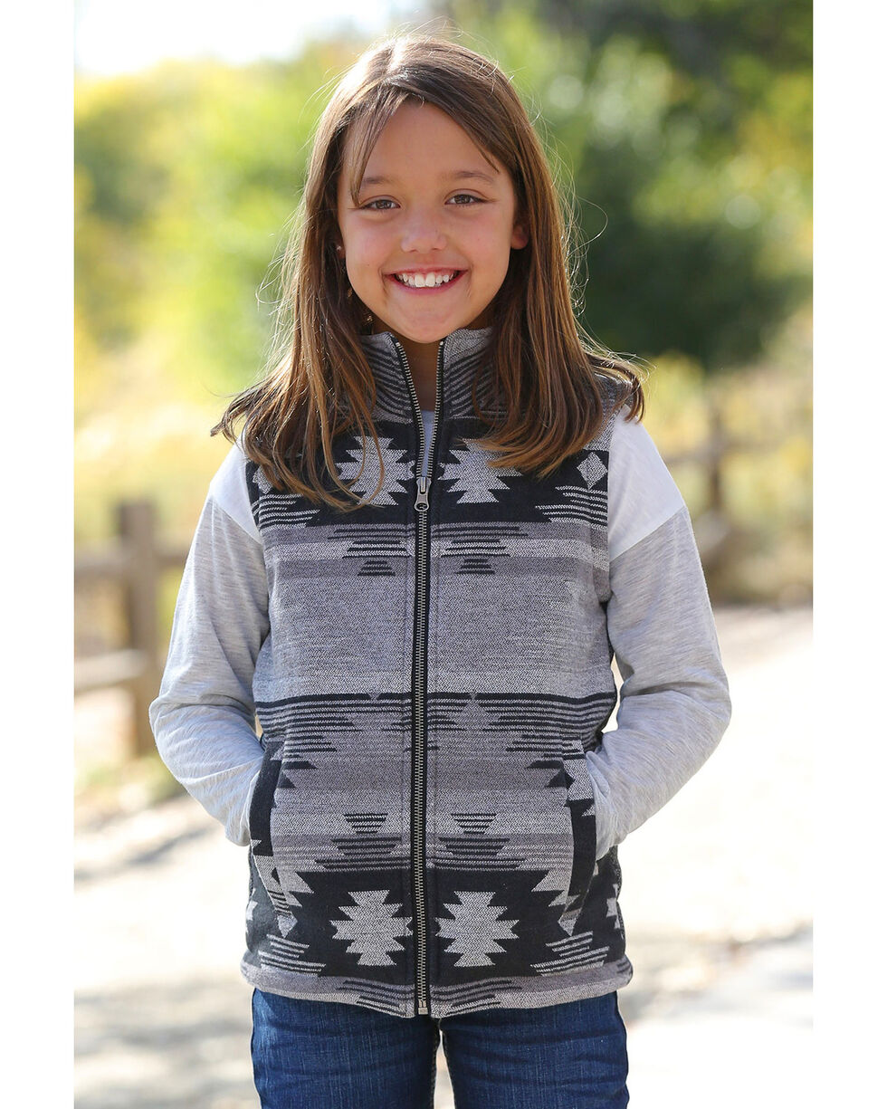 Cruel Girl Girls' Aztec Tweed Vest , Grey, hi-res