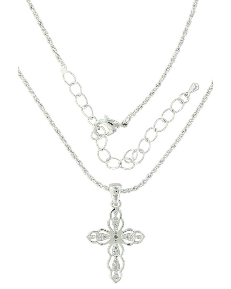 Montana Silversmiths Women's Against The Light Cross Necklace, Silver, hi-res
