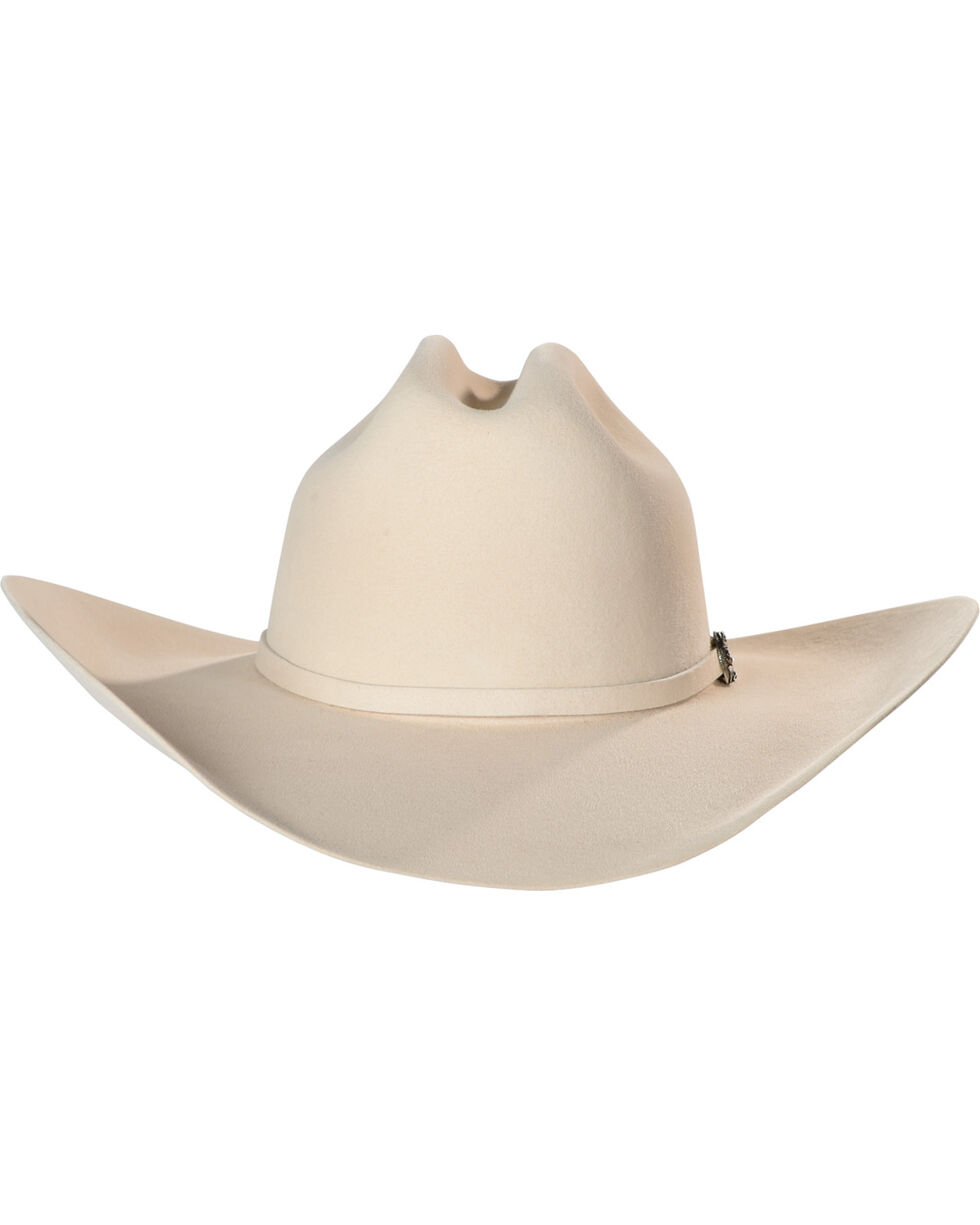 Justin Bent Rail Men's Ivory 25X The Boss Felt Cowboy Hat, Ivory, hi-res