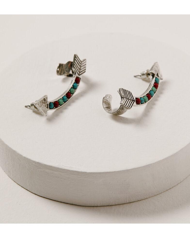Shyanne Women's Wild Soul Double Arrow Turquoise & Red Earrings, Silver, hi-res