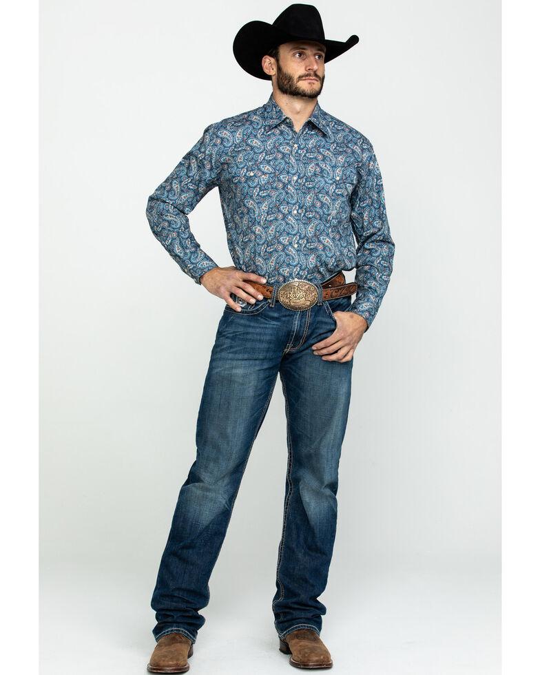 Roper Men's Blue Amarillo Normandy Paisley Print Long Sleeve Western Shirt , Blue, hi-res