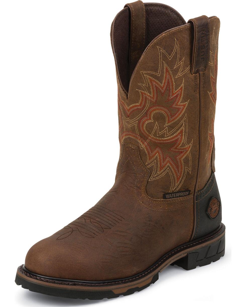 Justin Men's Tec Tuff Waterproof Work Boots, Barnwood, hi-res