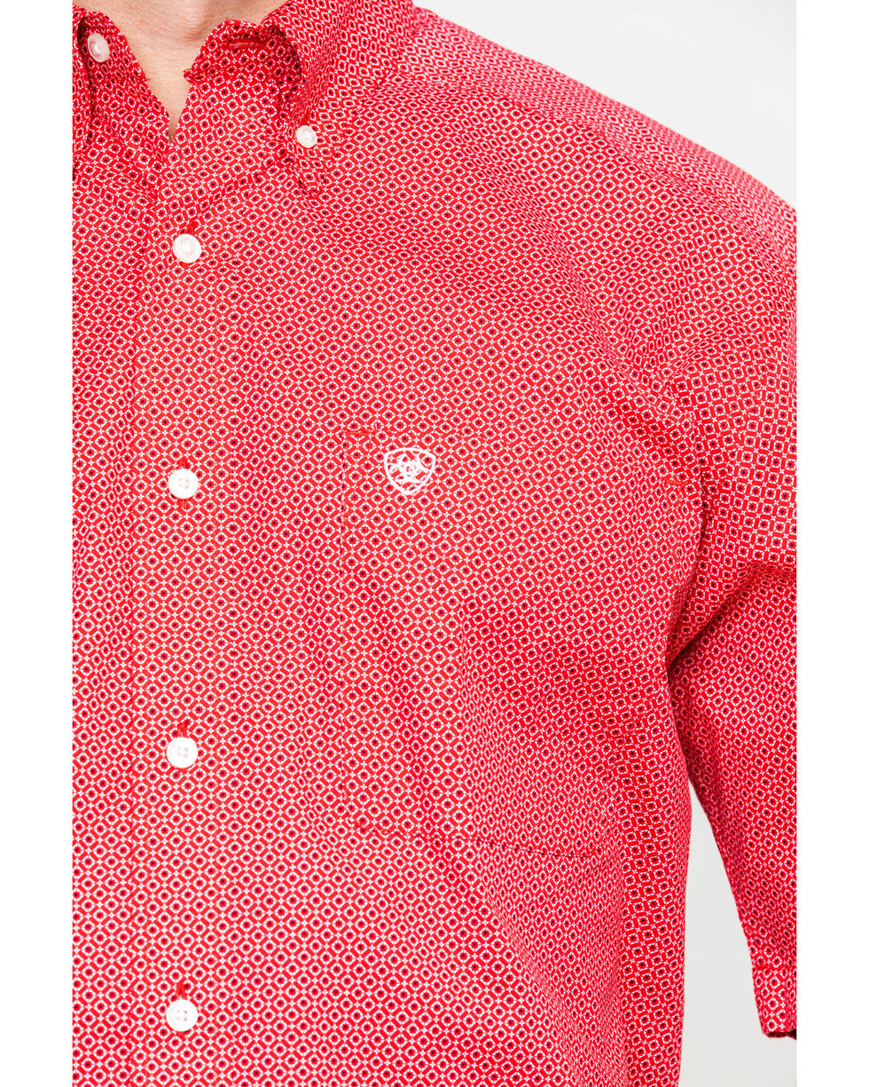 Ariat Men's Gatewood Stretch Geo Print Short Sleeve Western Shirt , Red, hi-res