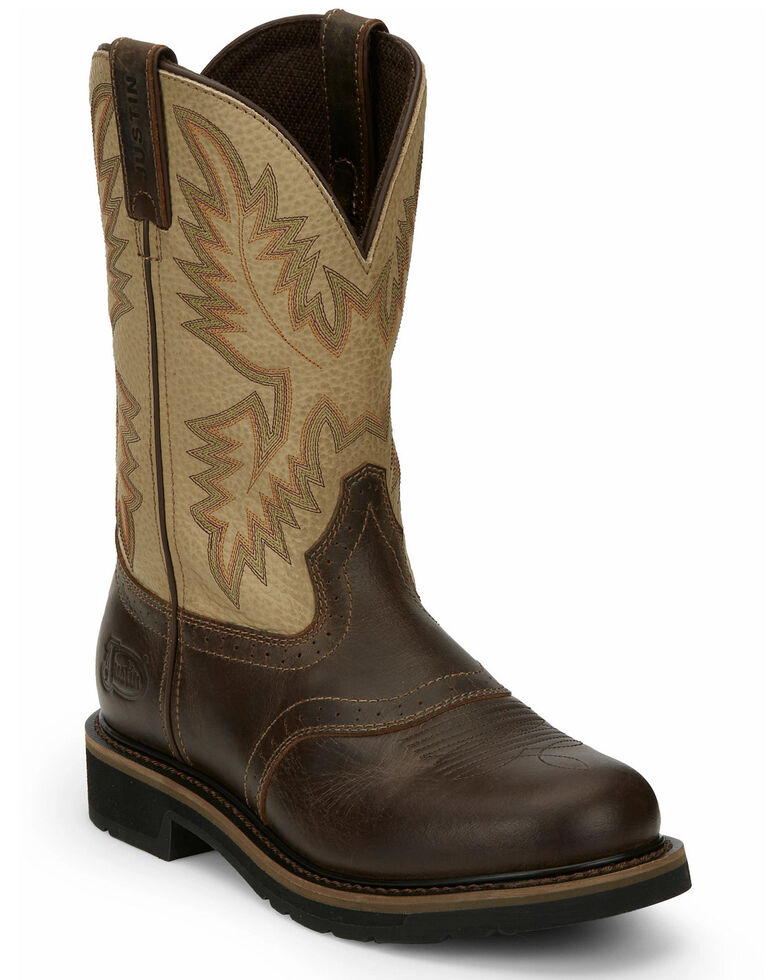Justin Men's Superintendent Western Boots - Square Toe, Brown, hi-res