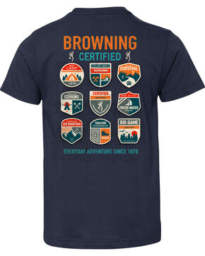 Browning Boys' Scout Patch Short Sleeve Tee, Navy, hi-res
