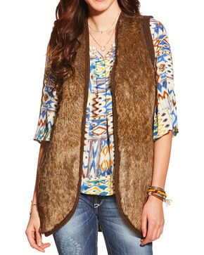 Ariat Women's Aileen Fur Vest, Brown, hi-res
